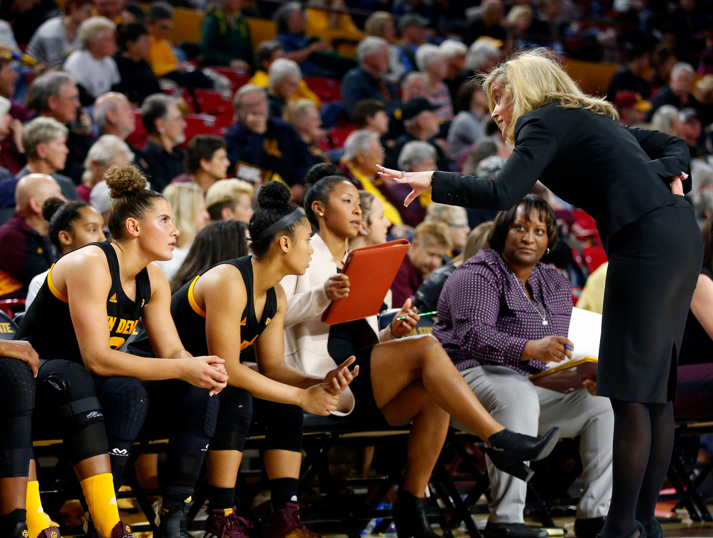 Arizona State University head coach Charli Turner Thorne talks to her team during a women's basketball game against Stanford University at Well Fargo Arena in Tempe on January 11.