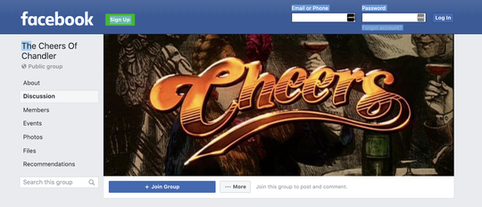"Adam Dench created ""The Cheers of Chandler"" group on Facebook, which he called ""a brand-new page where a community can come together to grow and love."""