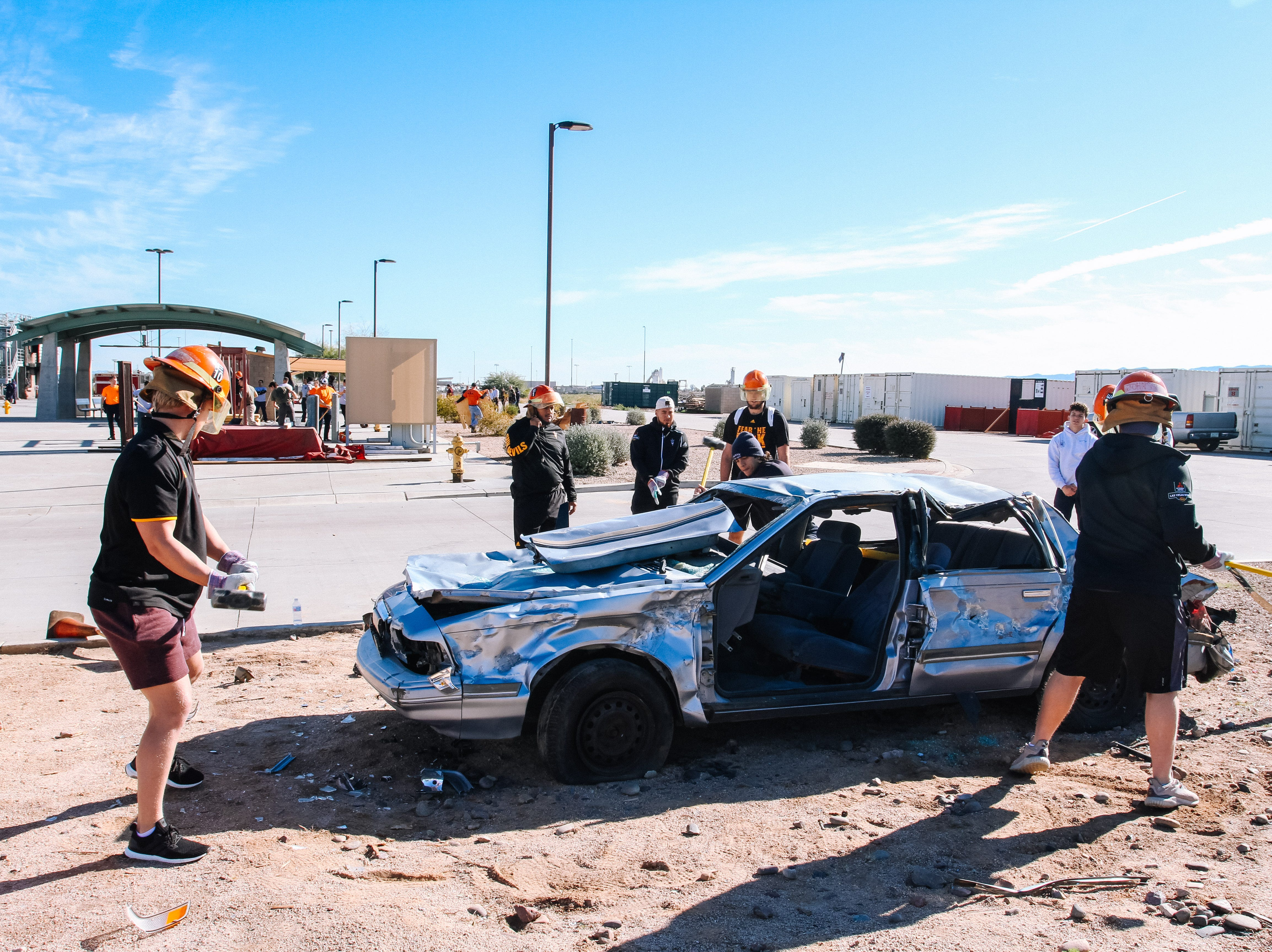 The Arizona State University football team spends a day with the Phoenix Fire Department at their training facility during a recruiting day in Phoenix, Arizona on Saturday, Jan. 12, 2019.
