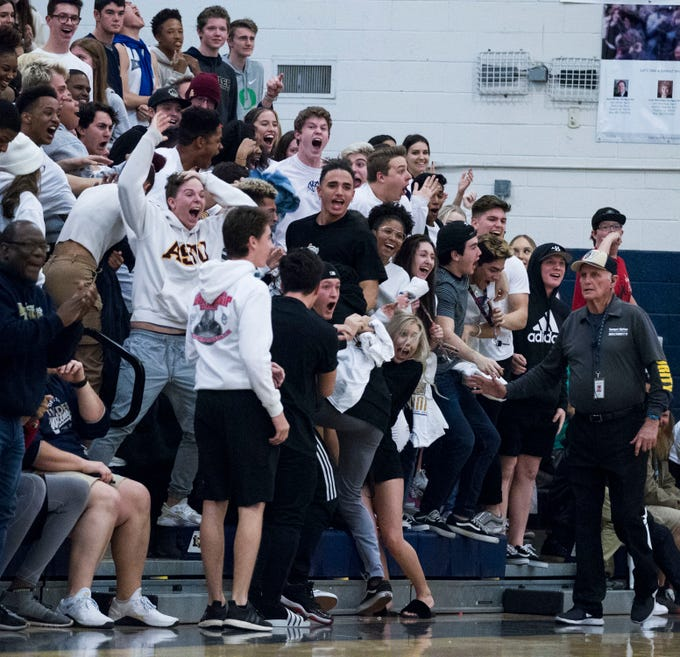 Desert Vista's student section goes crazy after a big dunk against Mountain Pointe during in the second half of their game at Desert Vista High School in Phoenix, Friday, Jan.11, 2019.