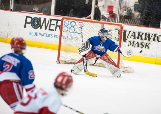 Richmond Generals goalie Harrison Allred reaches to stop a shot during their Silver Stick Finals PWA match against Port Huron Flags Saturday, Jan. 12, 2019 at McMorran Arena.