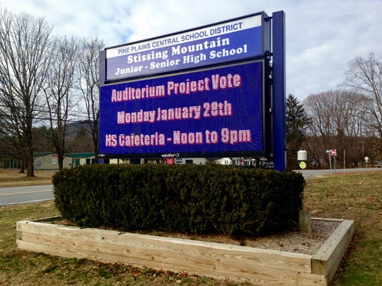 A sign for Stissing Mountain Junior/Senior High School in the Pine Plains Central School District in January 2019, with an advertisement for a special vote.