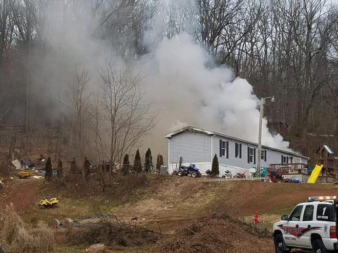 Dover Township Fire Department responded to a house fire in the 5000 block of Bull Road today around noon. (Photo courtesy of the Dover Township Fire Department)