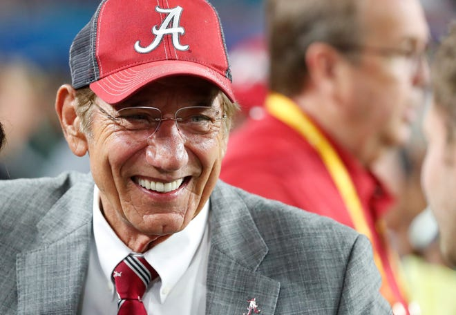 Former Alabama player and Pro Football Hall of Fame quarterback Joe Namath, smiles before the Orange Bowl on Saturday, Dec. 29, 2018, in Miami Gardens, Florida. Fifty years ago, on Jan. 12, 1969, Namath led the New York Jets to one of the great upsets in NFL history. The Jets, an 18-point underdog, beat the Baltimore Colts in Super Bowl III, 16-7.