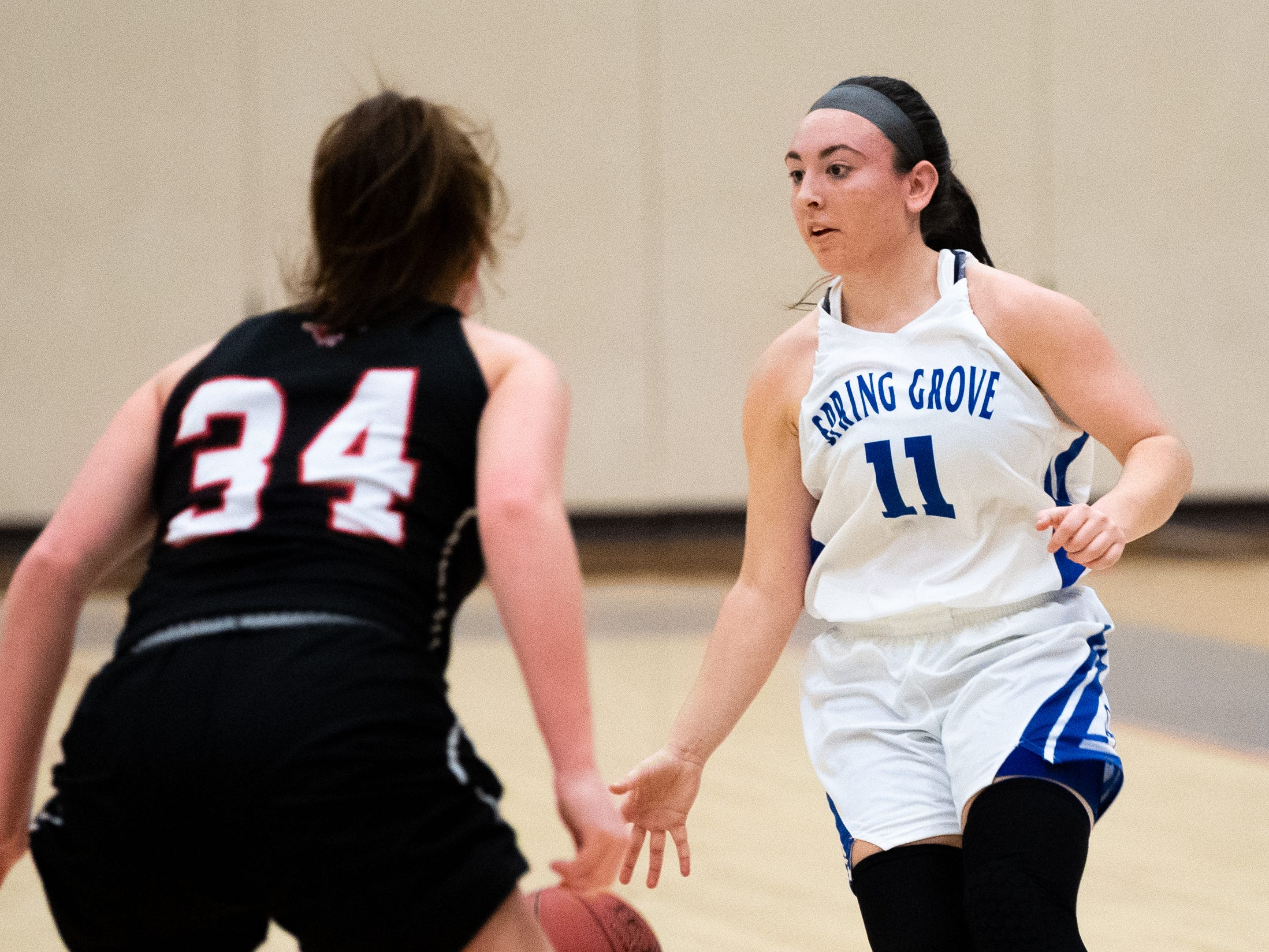 Haley Wagman (11) prepares to pass during the girls' basketball game between Spring Grove and South Western at Spring Grove Area High School, Friday, January 11, 2019. The Rockets defeated the Mustangs 51 to 38.