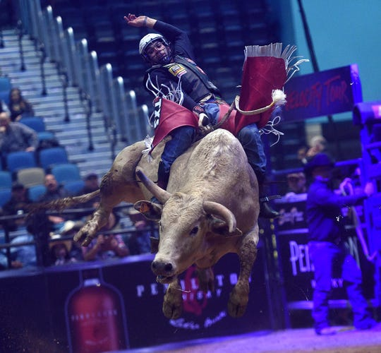 Ricky Aguiar competes during the PBR Velocity Tour at the Reno Events Center on Jan. 11, 2019.