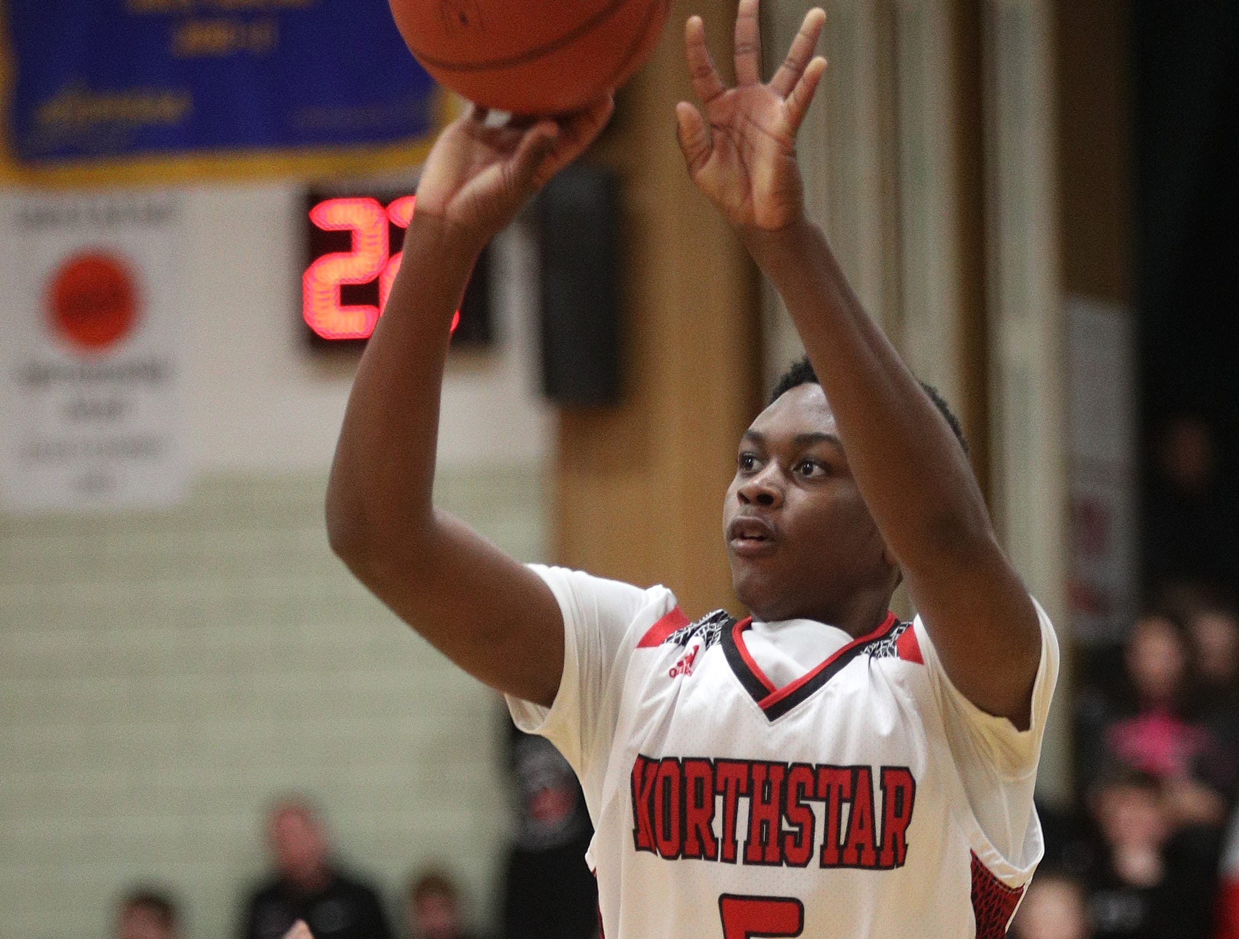 Northstar's Sean Smith gets off a jumper against Finney.
