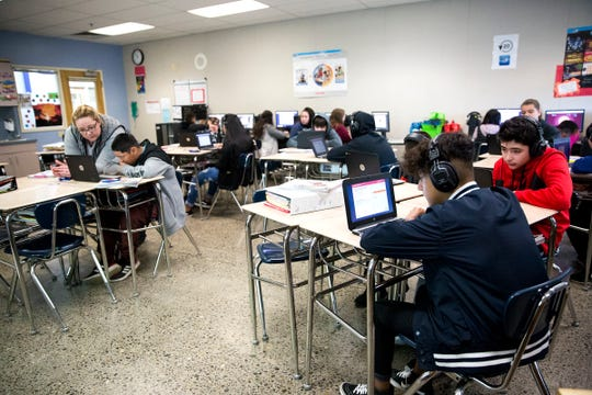 Students in class at Adam Stephens Middle School in late 2018.