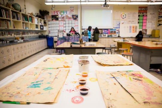 Art supplies at Adam Stephens Middle School in Salem on Jan. 11, 2019.