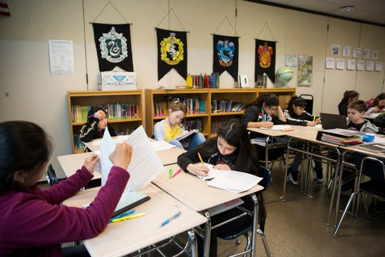 Sixth grade students in writing class at Adam Stephens Middle School in Salem on Thursday, Jan. 11, 2019.