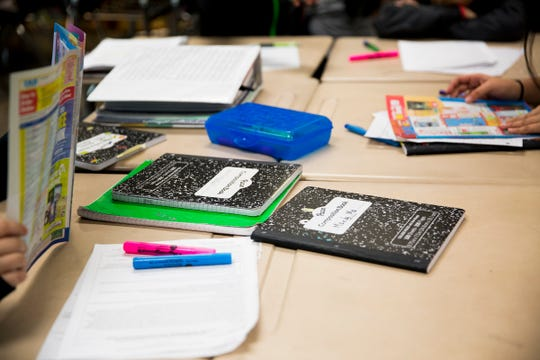 Notebooks at Adam Stephens Middle School in Salem on  Jan. 11, 2019.