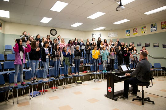 Students in music class at Adam Stephens Middle School on Thursday, Dec. 2019.