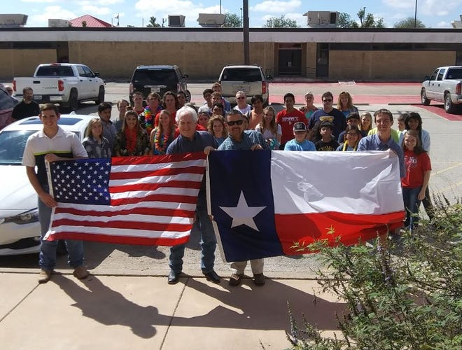 Miles ISD was the recipient of U.S. and Texas flags recently presented by Tommy Wood, local WoodmenLife financial representative, at a school assembly. The flags will fly at the Main Building and at the football stadium.