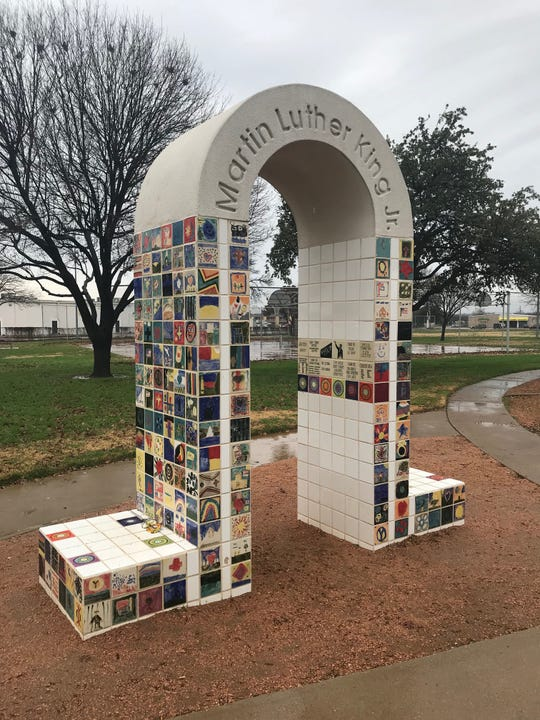 A memorial arch commemorates the life of Martin Luther King Jr. at the park bearing his name in San Angelo.