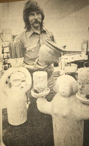 Original caption Feb. 22, 1976: Teacher-artist Roger Allen exhibits stoneware and jewelry in Angelo West Branch Library through February. His efforts are channeled into finishing an art complex with several other artists which will be known as El Centro.