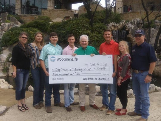 Tommy Wood, center, Financial Representative with WoodmenLife, recently presented a $500 check to the Tom Green County 4H Club on behalf of Woodmen's local Chapter 66.  Past President Jimmy Barton also attended. The donation was to help raise funds for the Leaders 4 Life team(pictured) trip in January to represent Texas at the 2019 National Western Roundup & Stock Show in Denver, Co. Also pictured at left is Club Sponsor Sandra Pfeuffer.
