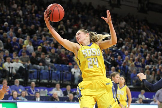 South Dakota State's Tagyn Larson corals a pass in the paint during the second quarter of the Jackrabbits' matchup against the Golden Eagles Saturday afternoon at Frost Arena in Brookings.