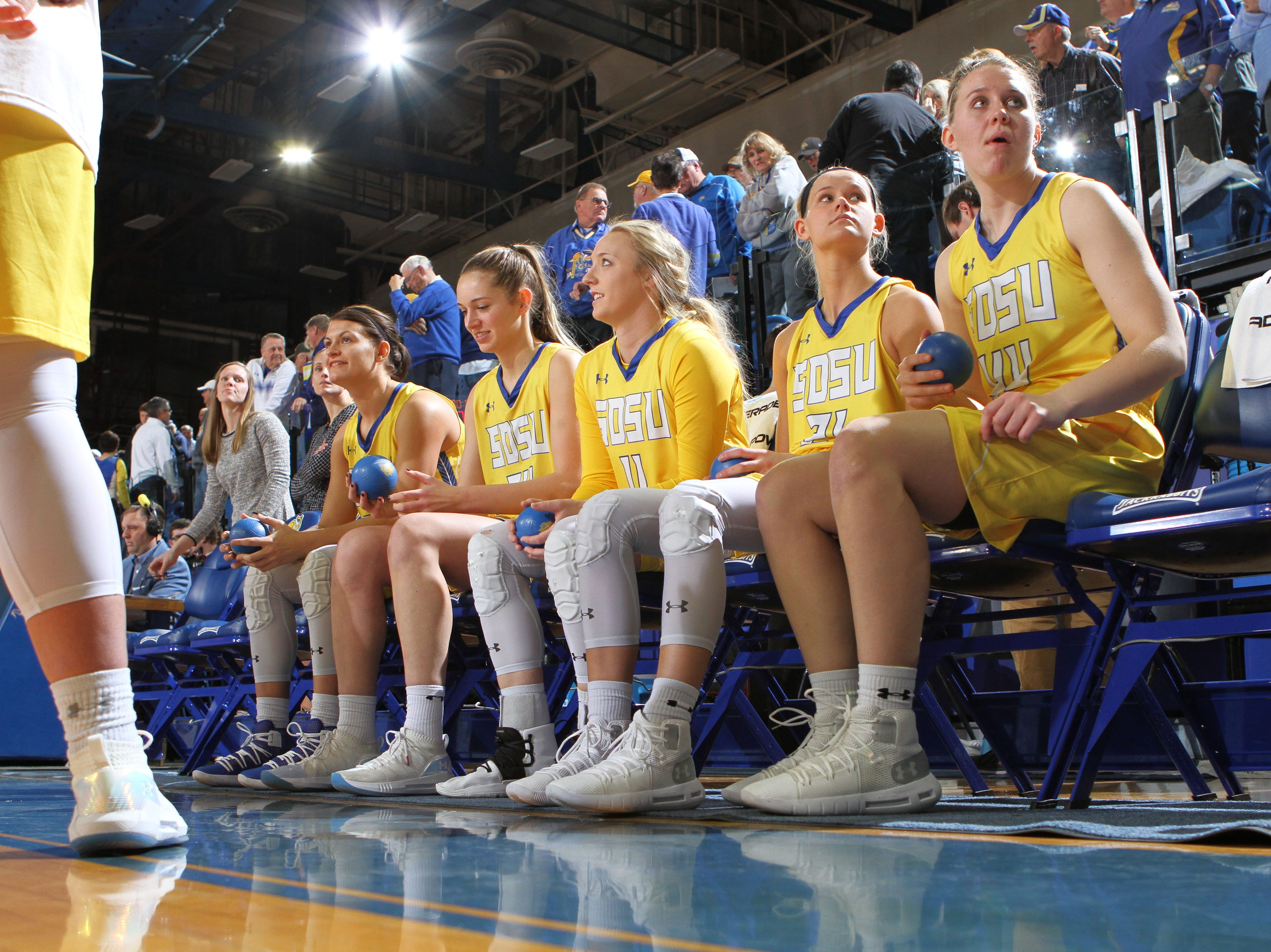 South Dakota State's starting five consisting of (from left) Macy Miller, Tagyn Larson, Madison Guebert, Tylee Irwin, and Myah Selland get ready for introductions prior to the matchup against Oral Roberts Saturday afternoon at Frost Arena in Brookings.