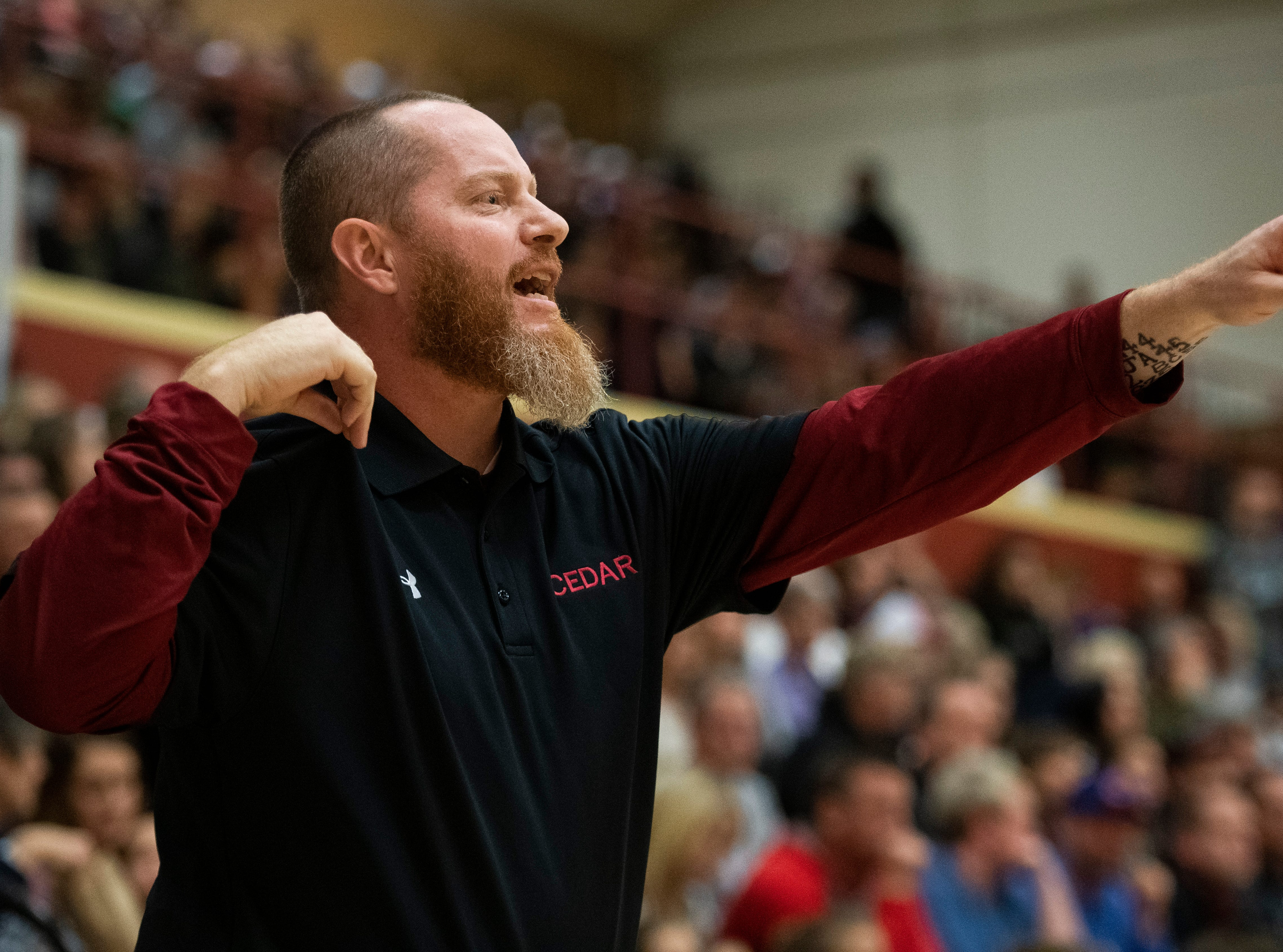 Cedar High School head coach Russ Beck calls a play against Canyon View at CHS Friday, January 11, 2019. Canyon View won, 61-56.
