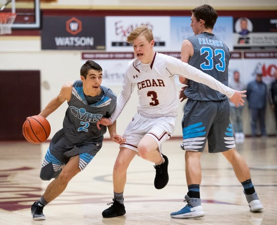 Canyon View guard Mason Lyman (2) is one of three Falcons players averaging over 12 points per game. Lyman and the rest of the Canyon View squad will need similar production to upset a rolling Orem Tigers squad on Friday in the first round of the 4A state playoffs.
