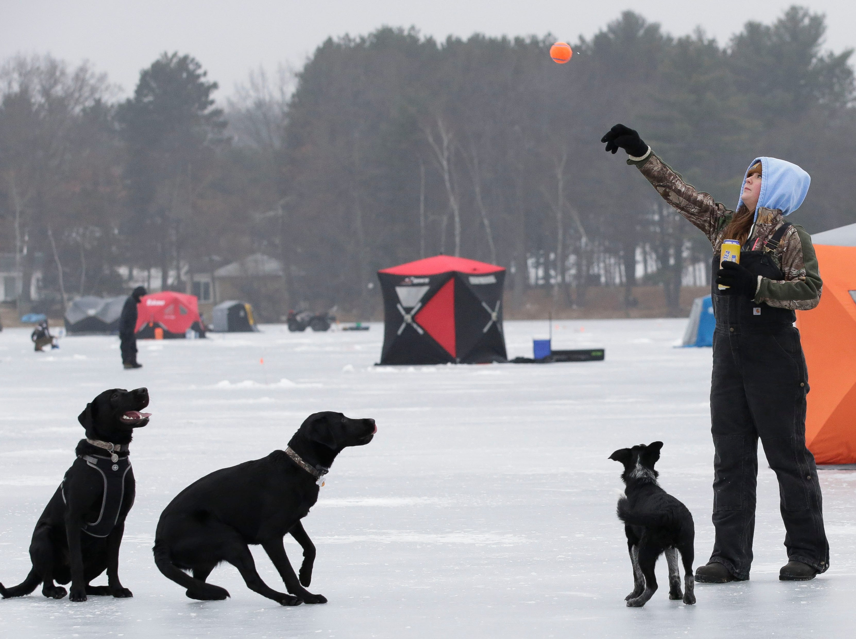 Beka Oliver tosses a ball for her dogs to chase on Saturday, January 12, 2019, during the Rosholt Blizzard Busters Fisheree at Lake Helen outside Rosholt, Wis.Tork Mason/USA TODAY NETWORK-Wisconsin