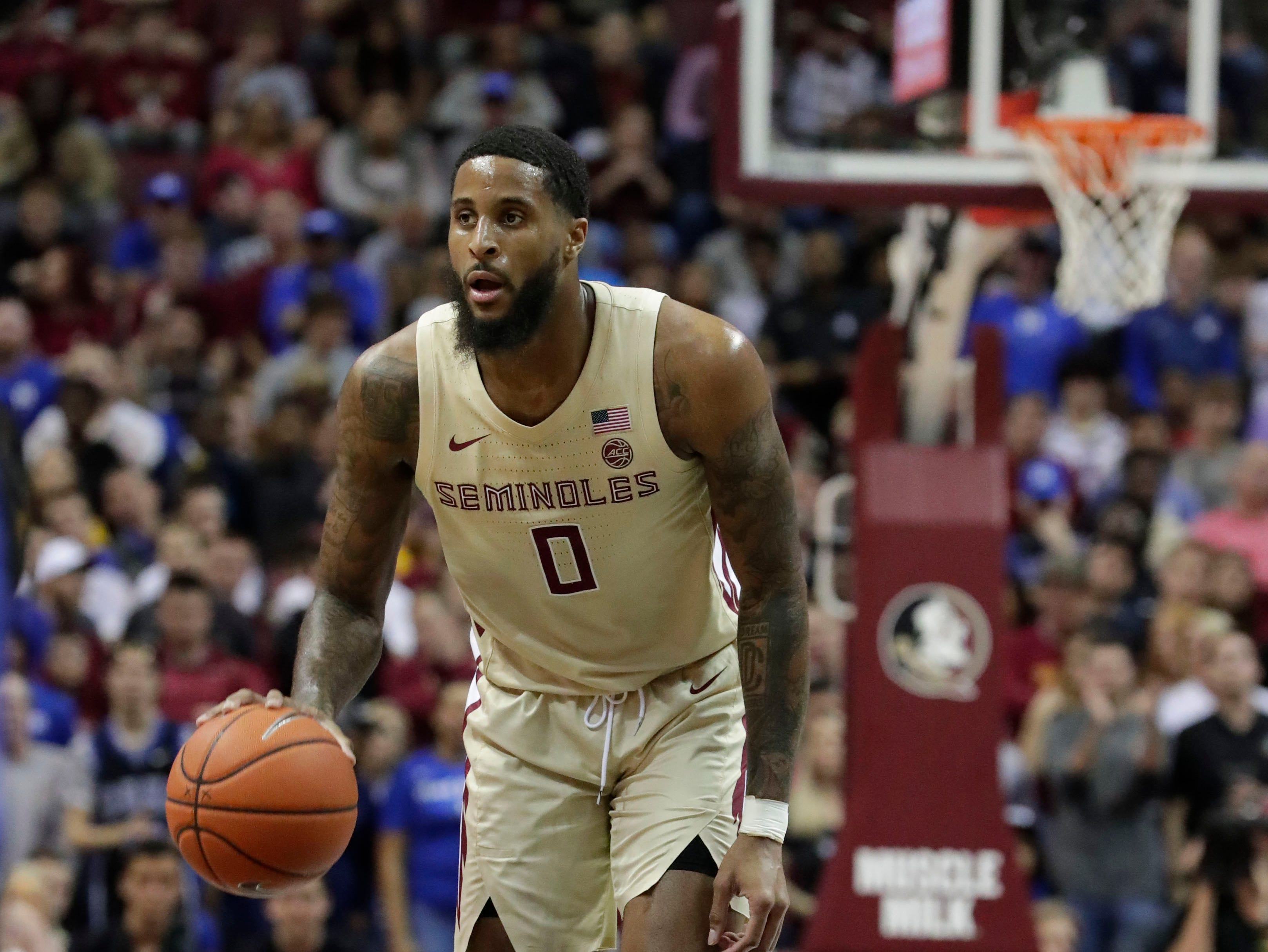 Florida State Seminoles forward Phil Cofer (0) awaits a teammate to set a pick. Ranked 13 in the ACC, the Florida State Seminoles host the number 1 team, the Duke Blue Devils, at the Tucker Civic Center, Saturday, Jan. 12, 2019.