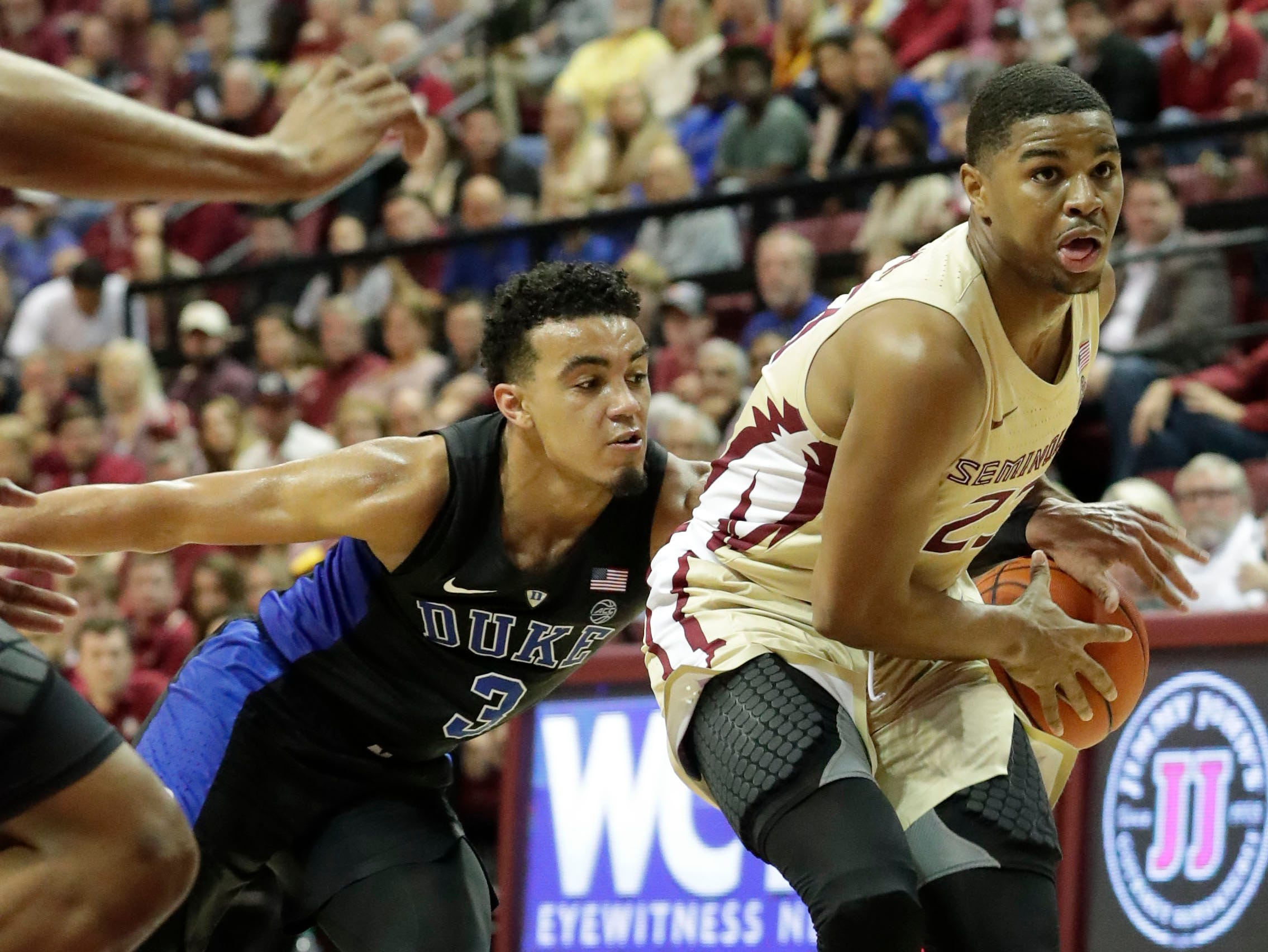 Florida State Seminoles guard M.J. Walker (23) makes his way past his defender to drive the ball to the hoop. Ranked 13 in the ACC, the Florida State Seminoles host the number 1 team, the Duke Blue Devils, at the Tucker Civic Center, Saturday, Jan. 12, 2019.