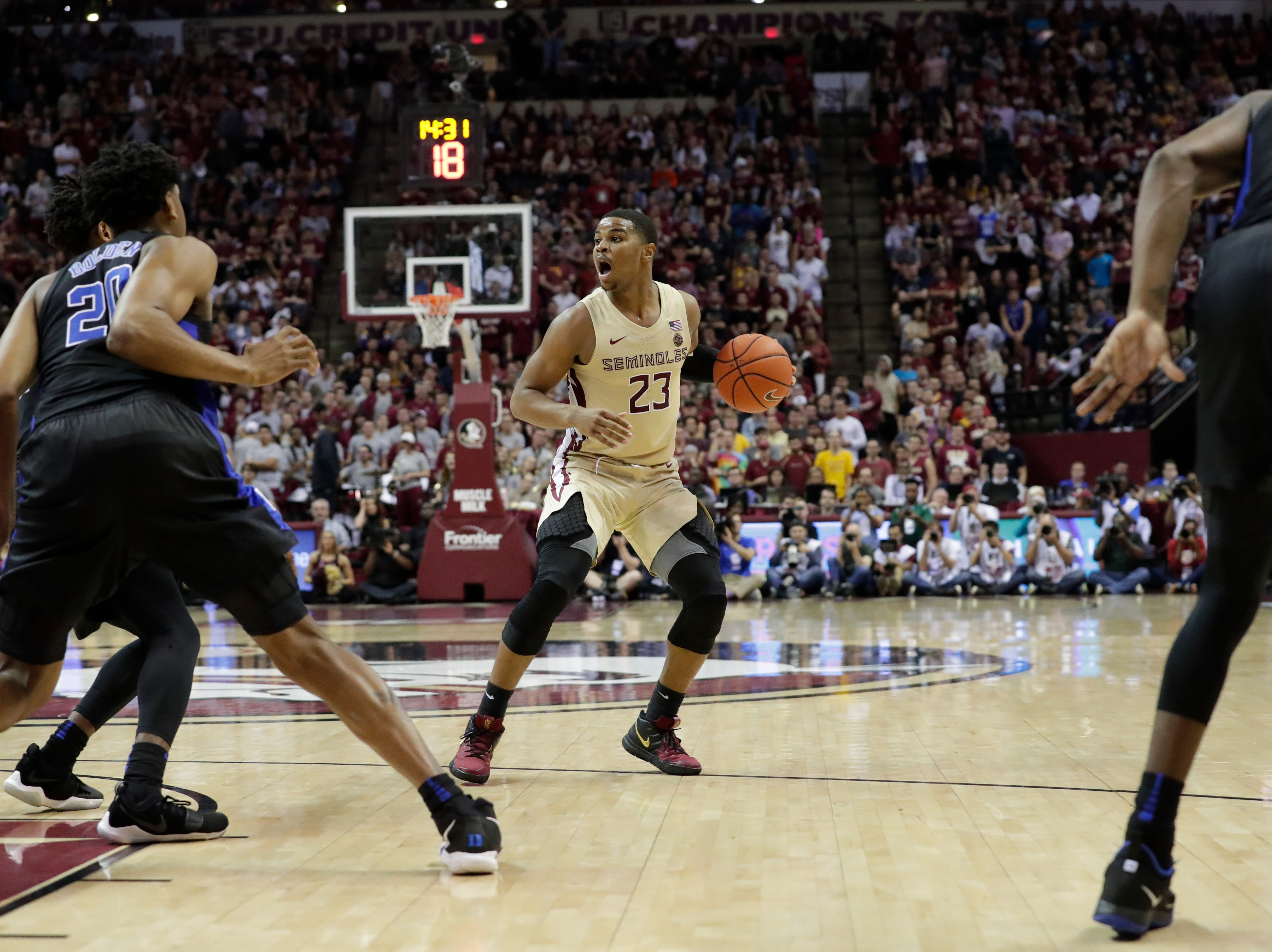 Florida State Seminoles guard M.J. Walker (23) yells to his teammates for assistance. Ranked 13 in the ACC, the Florida State Seminoles host the number 1 team, the Duke Blue Devils, at the Tucker Civic Center, Saturday, Jan. 12, 2019.