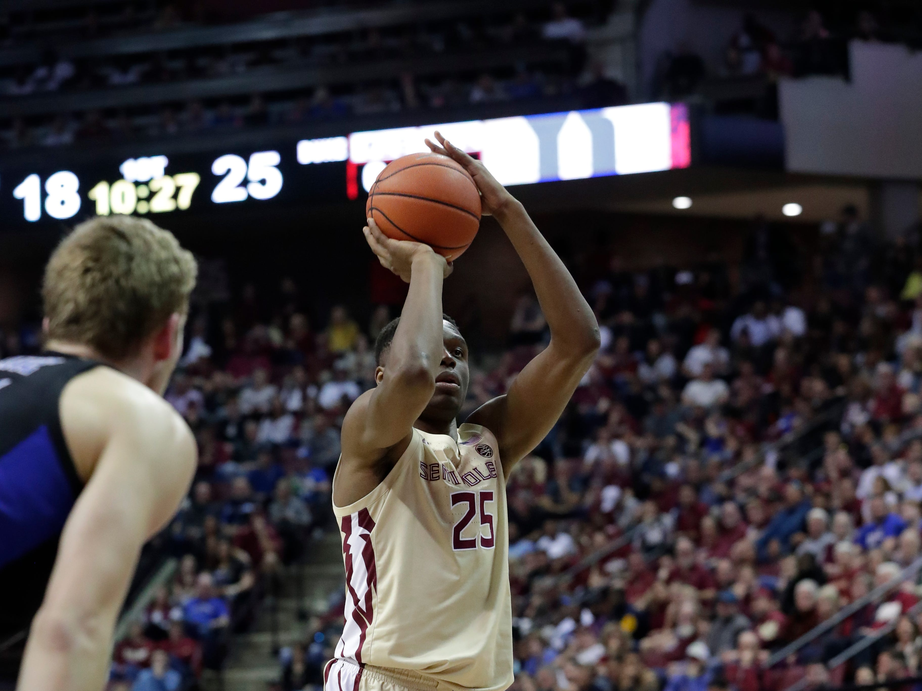 Ranked 13 in the ACC, the Florida State Seminoles host the number 1 team, the Duke Blue Devils, at the Tucker Civic Center, Saturday, Jan. 12, 2019. Florida State Seminoles forward Mfiondu Kabengele (25) shoots a free throw.