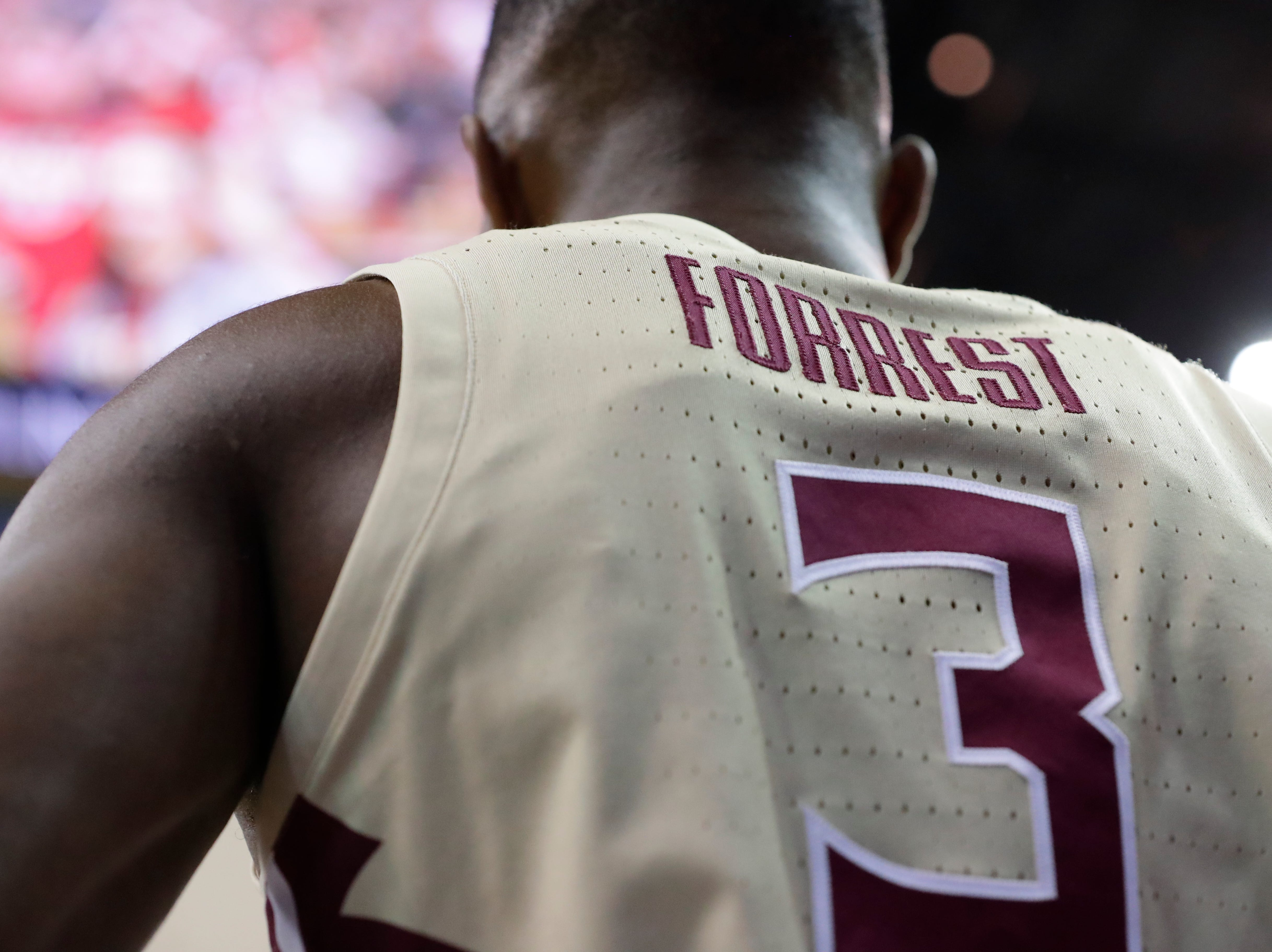 Florida State Seminoles guard Trent Forrest (3) stands on the baseline waiting to pass the ball in. Ranked 13 in the ACC, the Florida State Seminoles host the number 1 team, the Duke Blue Devils, at the Tucker Civic Center, Saturday, Jan. 12, 2019.