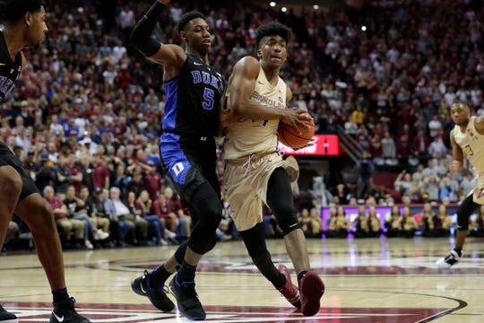 Duke's R.J. Barrett (5) is among the top four players in several mock NBA drafts.