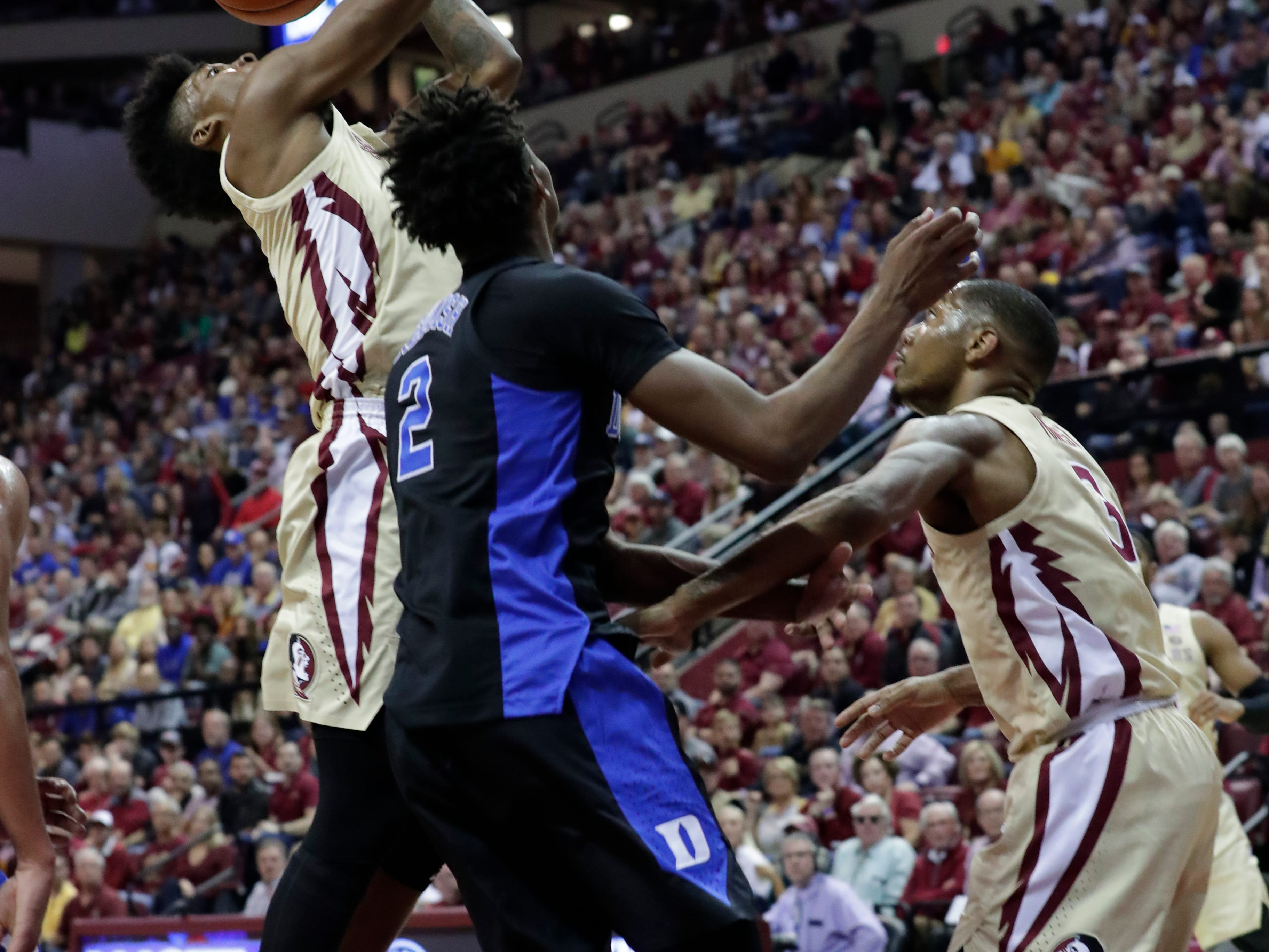 Florida State Seminoles guard Terance Mann (14) shoots for two. Ranked 13 in the ACC, the Florida State Seminoles host the number 1 team, the Duke Blue Devils, at the Tucker Civic Center, Saturday, Jan. 12, 2019.