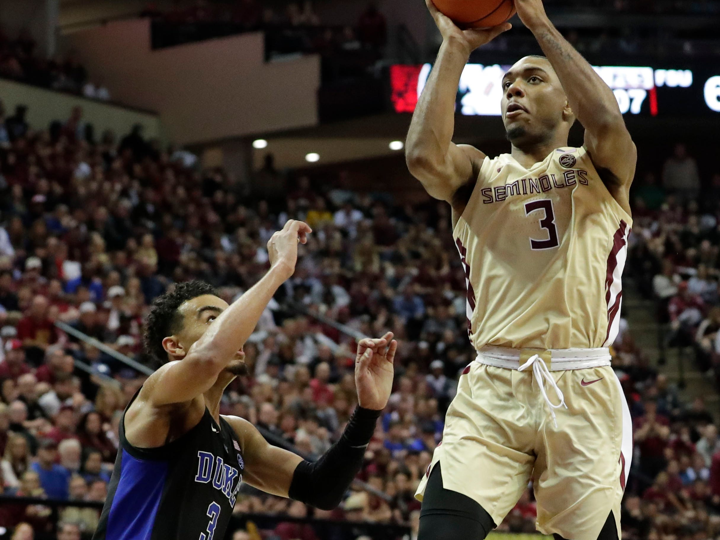 Florida State Seminoles guard Trent Forrest (3) shoots from inside the paint. Ranked 13 in the ACC, the Florida State Seminoles host the number 1 team, the Duke Blue Devils, at the Tucker Civic Center, Saturday, Jan. 12, 2019.