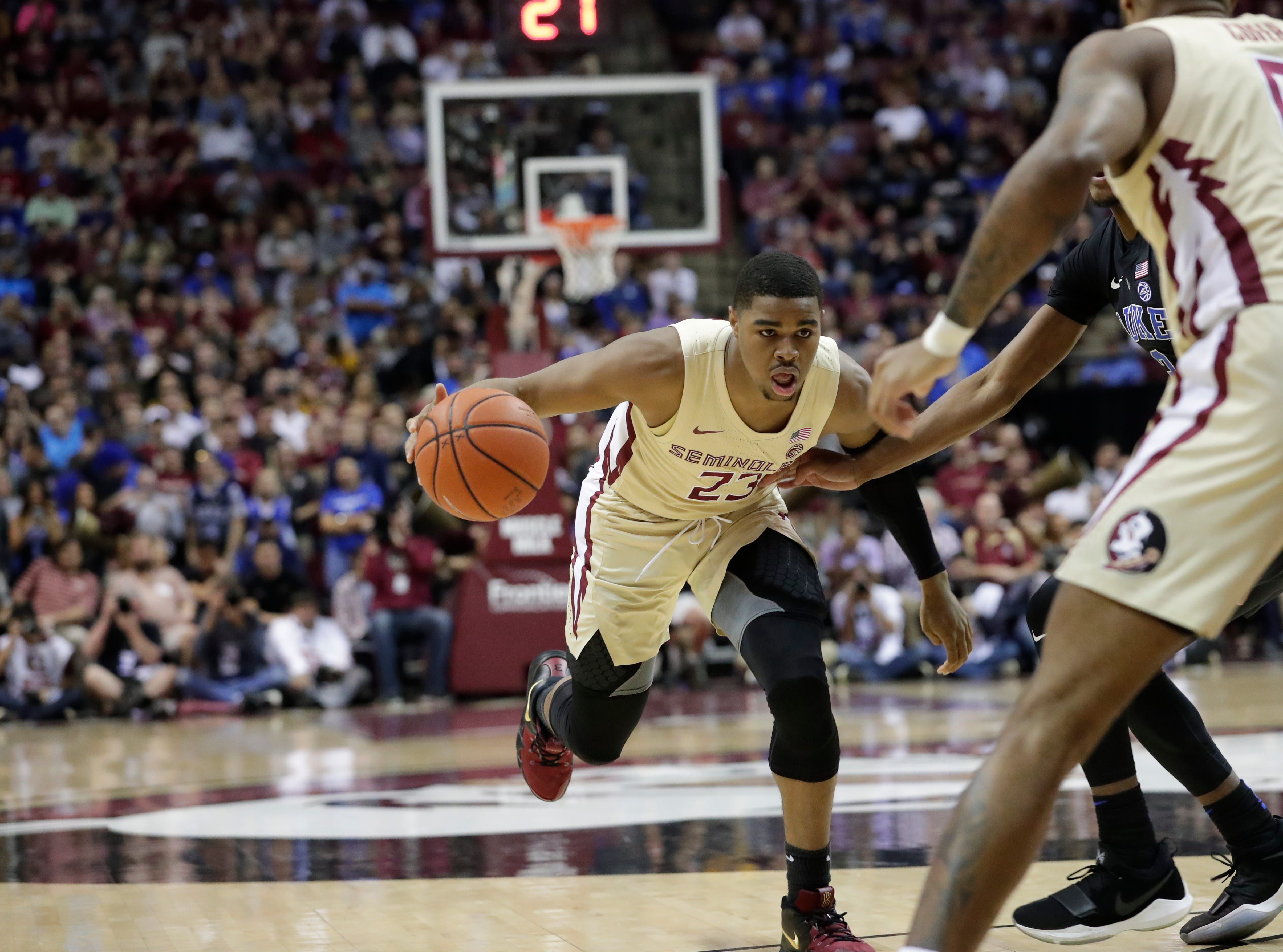 Florida State Seminoles guard M.J. Walker (23) drives the ball to the hoop. Ranked 13 in the ACC, the Florida State Seminoles host the number 1 team, the Duke Blue Devils, at the Tucker Civic Center, Saturday, Jan. 12, 2019.