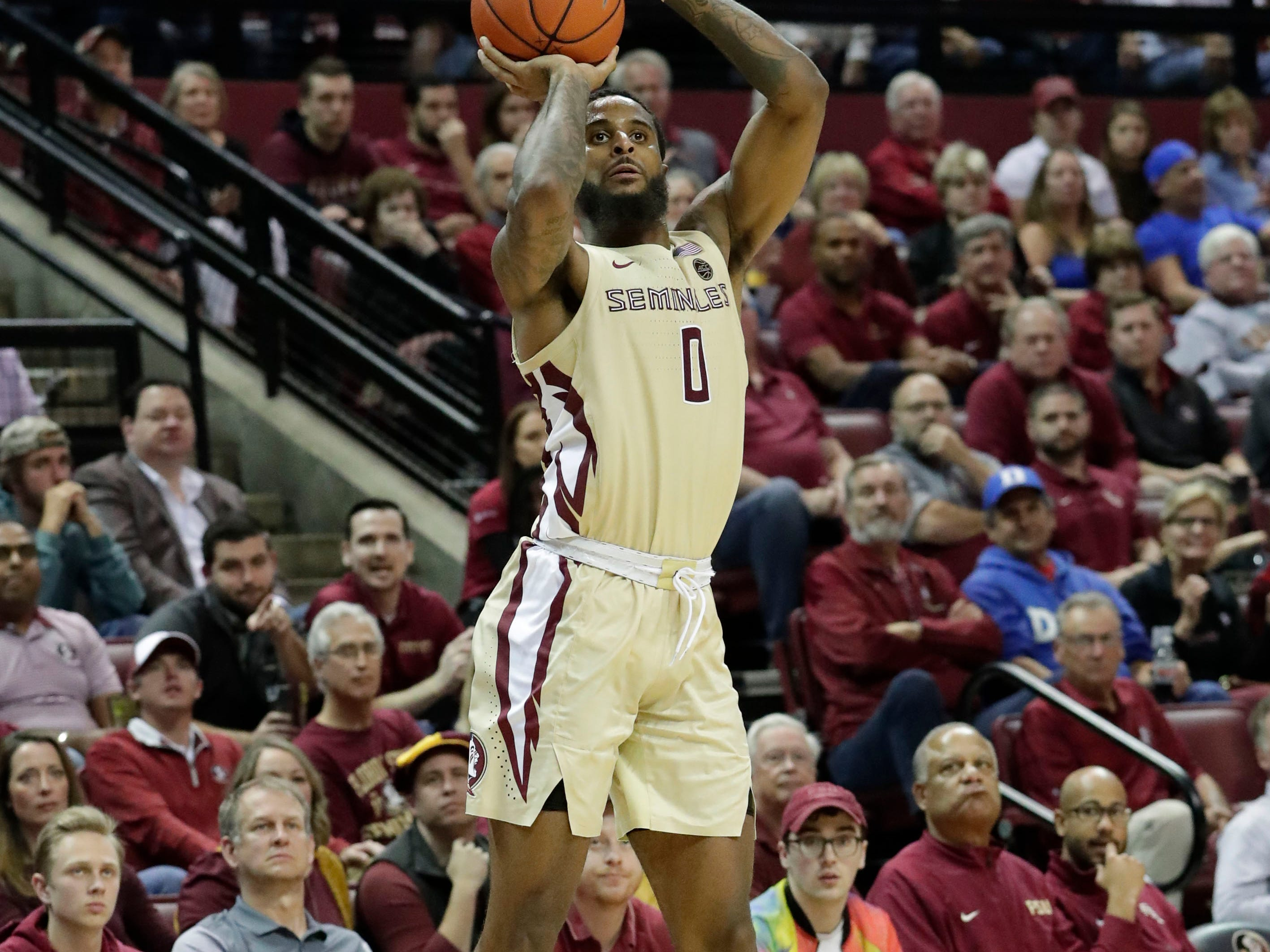 Florida State Seminoles forward Phil Cofer (0) shoots for three. Ranked 13 in the ACC, the Florida State Seminoles host the number 1 team, the Duke Blue Devils, at the Tucker Civic Center, Saturday, Jan. 12, 2019.