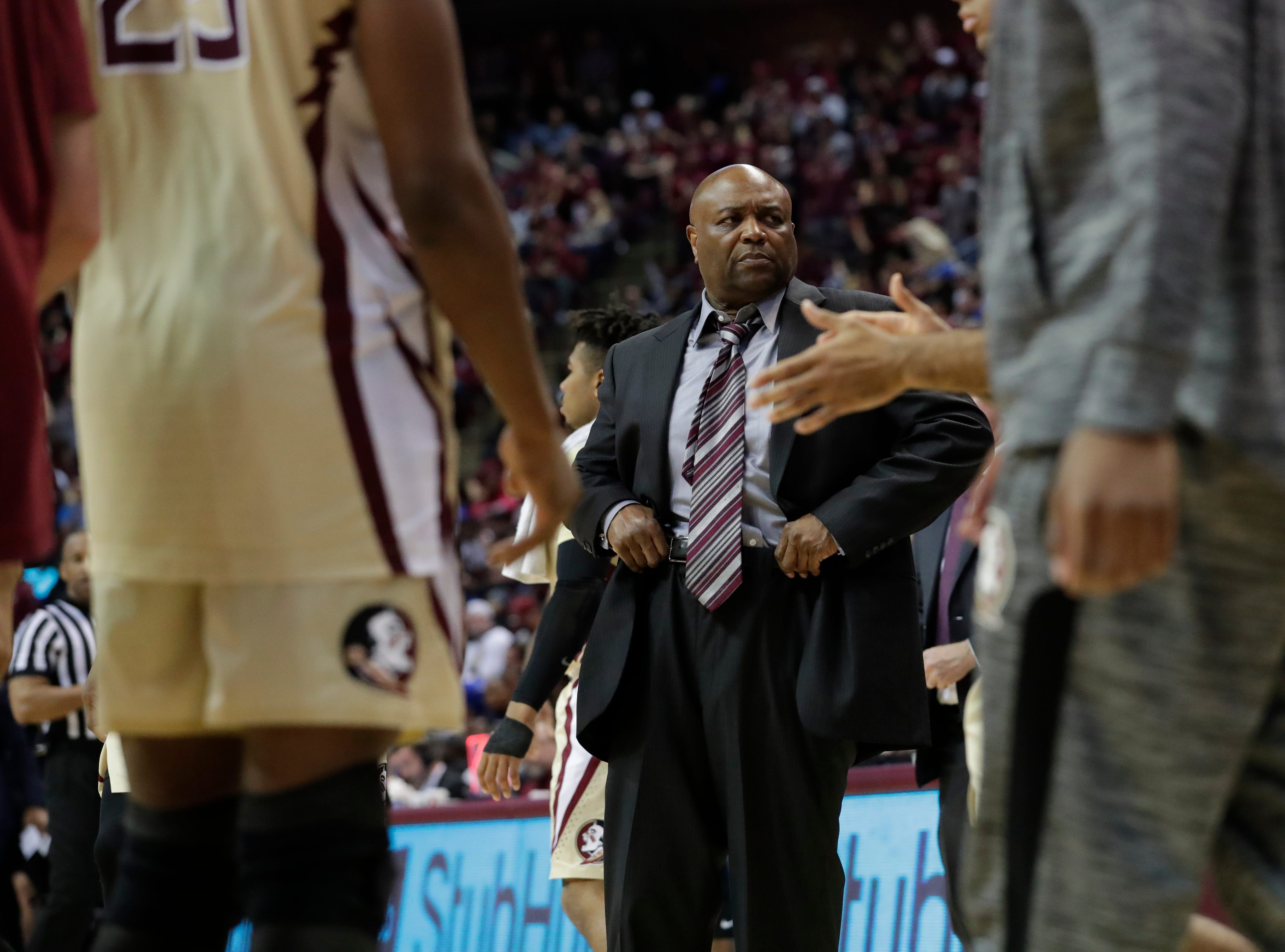 Florida State head coach Leonard Hamilton pulls up his pants as during a timeout. Ranked 13 in the ACC, the Florida State Seminoles host the number 1 team, the Duke Blue Devils, at the Tucker Civic Center, Saturday, Jan. 12, 2019.