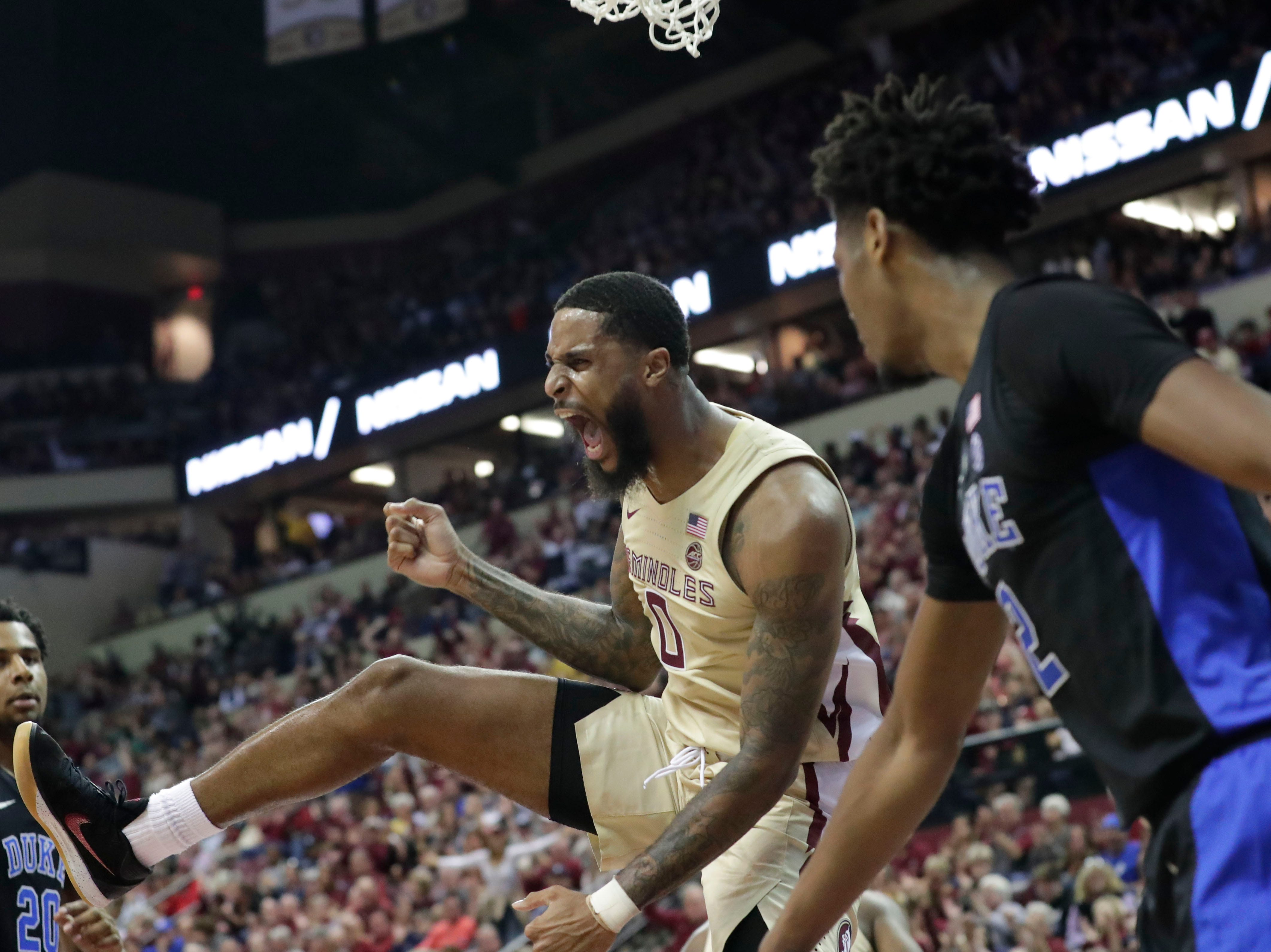 Florida State Seminoles forward Phil Cofer (0) celebrates his slam dunk. Ranked 13 in the ACC, the Florida State Seminoles host the number 1 team, the Duke Blue Devils, at the Tucker Civic Center, Saturday, Jan. 12, 2019.