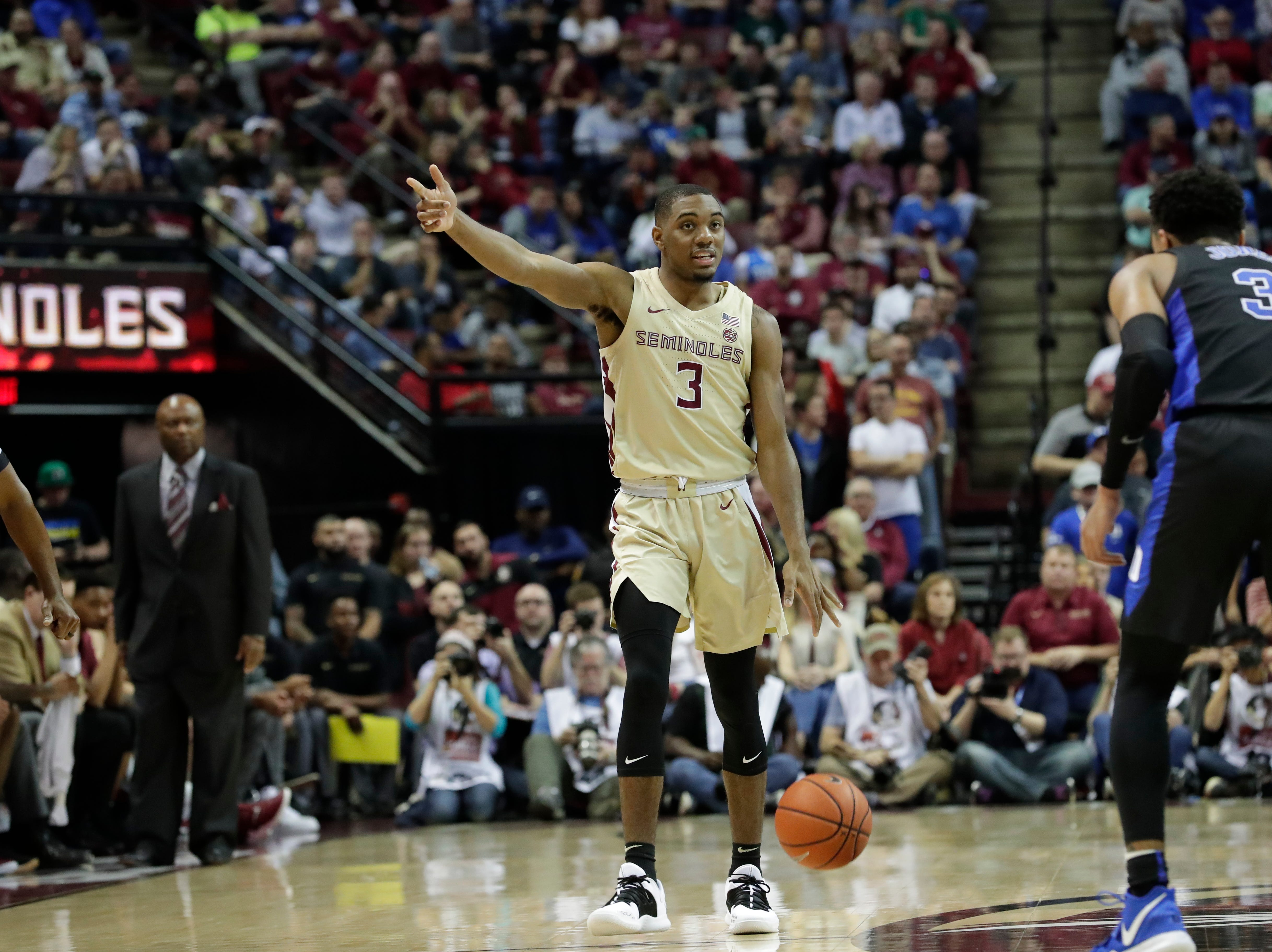 Florida State Seminoles guard Trent Forrest (3) calls a play for his teammates. Ranked 13 in the ACC, the Florida State Seminoles host the number 1 team, the Duke Blue Devils, at the Tucker Civic Center, Saturday, Jan. 12, 2019.