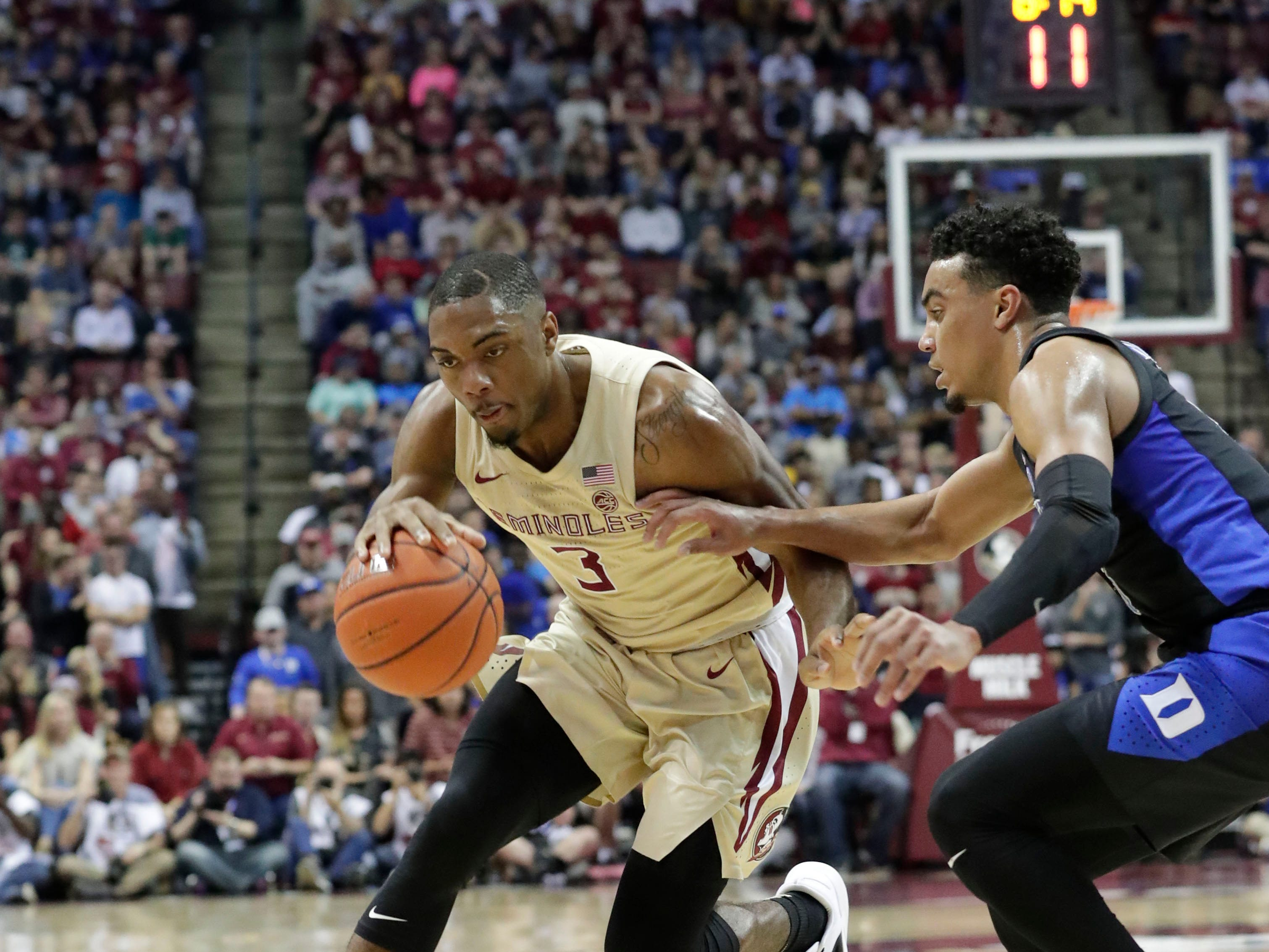 Florida State Seminoles guard Trent Forrest (3) drives the ball to the hoop. Ranked 13 in the ACC, the Florida State Seminoles host the number 1 team, the Duke Blue Devils, at the Tucker Civic Center, Saturday, Jan. 12, 2019.