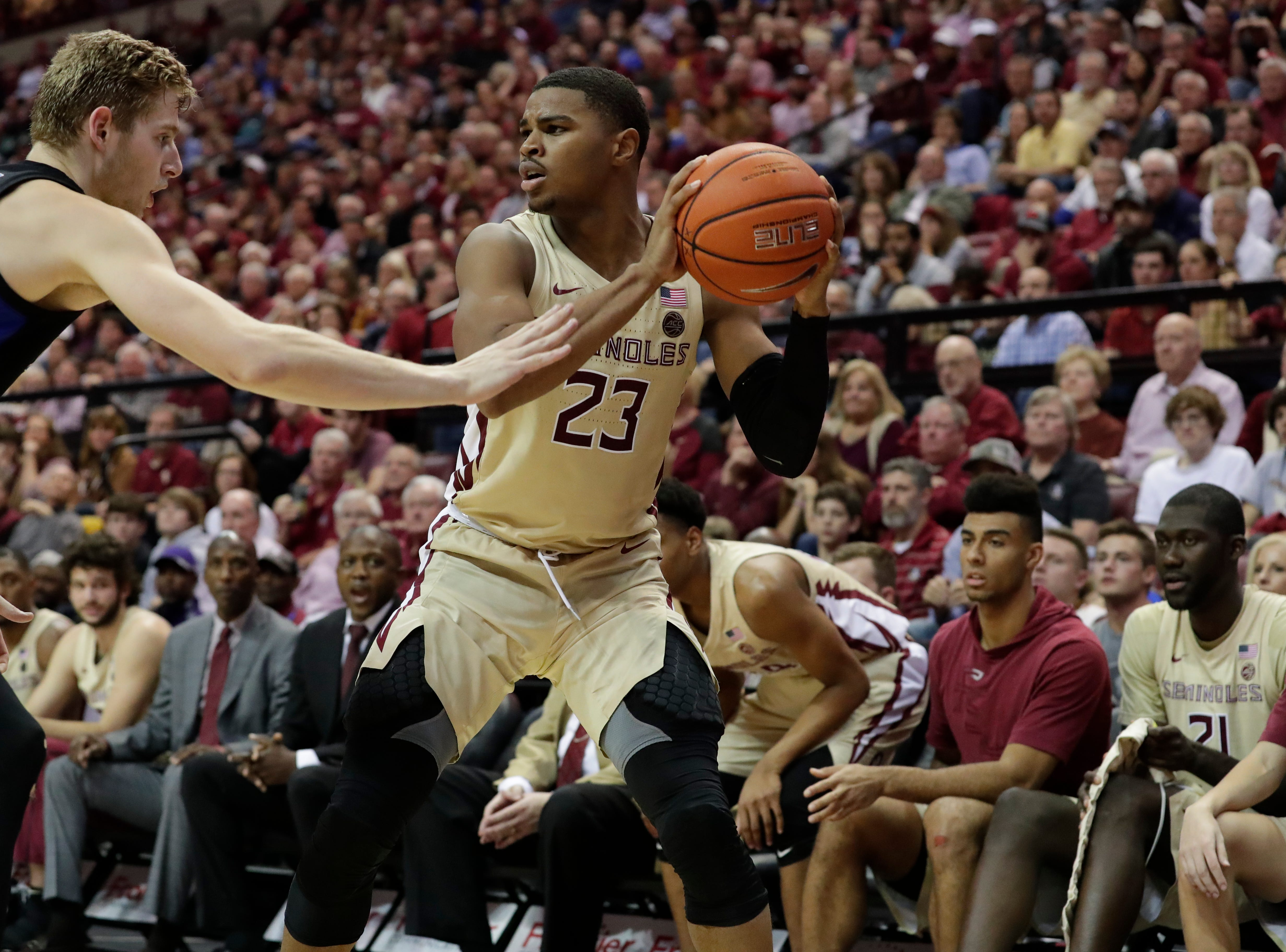 Florida State Seminoles guard M.J. Walker (23) looks for an open teammate to pass to. Ranked 13 in the ACC, the Florida State Seminoles host the number 1 team, the Duke Blue Devils, at the Tucker Civic Center, Saturday, Jan. 12, 2019.