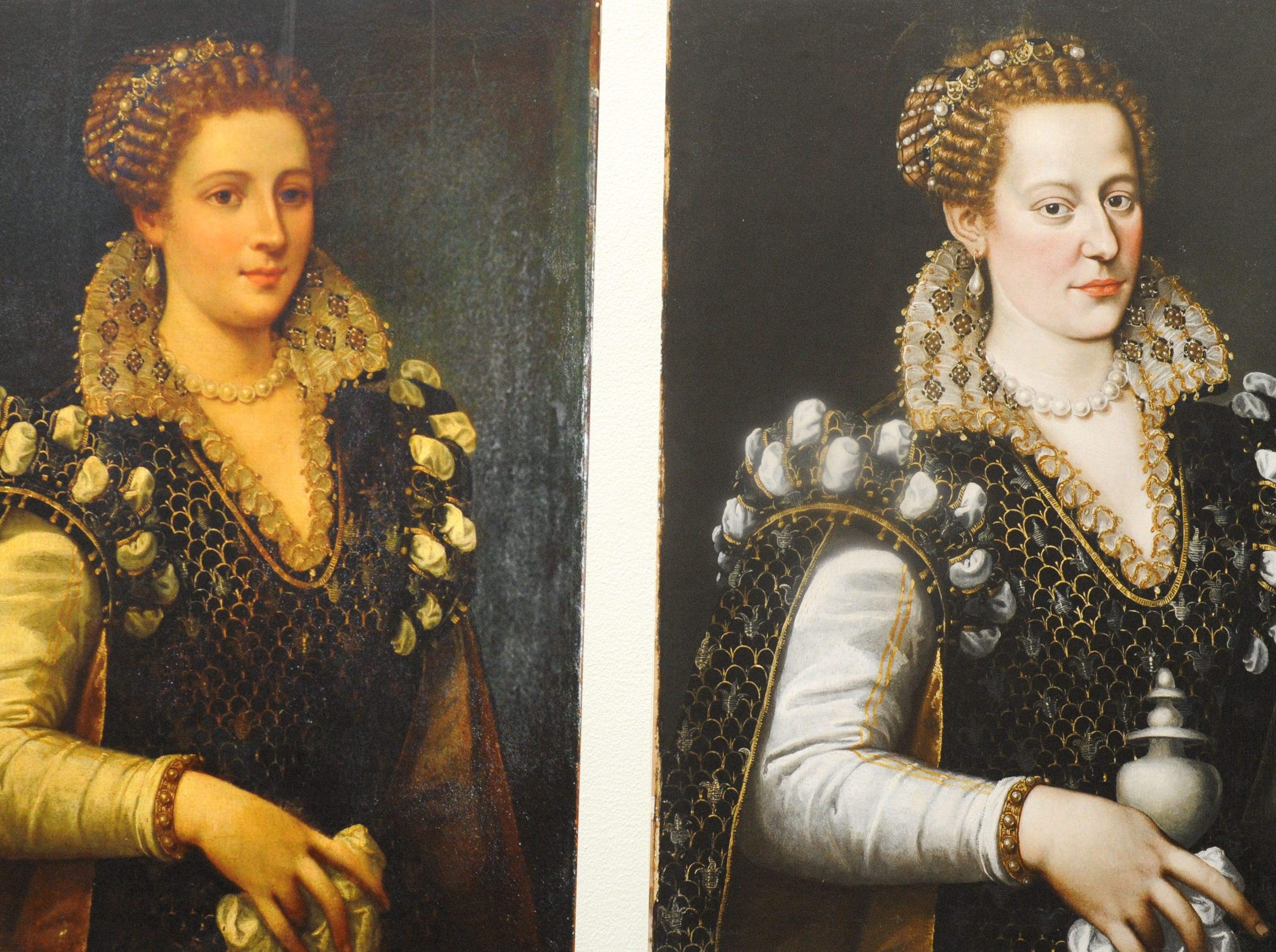 """A lost Princess, portrait of Isabella de' Medici,1535-1607 oil on canvas attributed to Alessandro Allori is part of the exhibit, """"Traces: Revealing Secrets in Art and History."""" The painting on the left was altered. A class called """"Chemical Investigations of Art"""" is linked to the exhibit and will look at how art has been manipulated and distorted."""