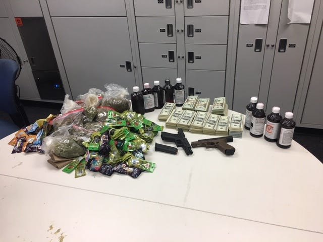 Drugs, cash and guns were seized by Ventura County Sheriff's officials when two men were arrested recently in Thousand Oaks.