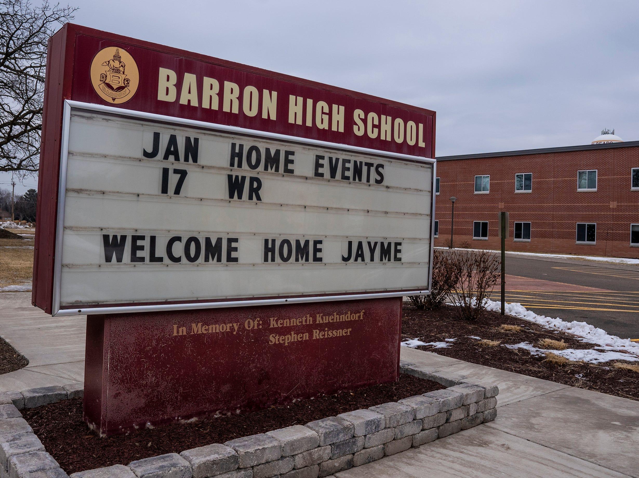 Barron High School's sign.