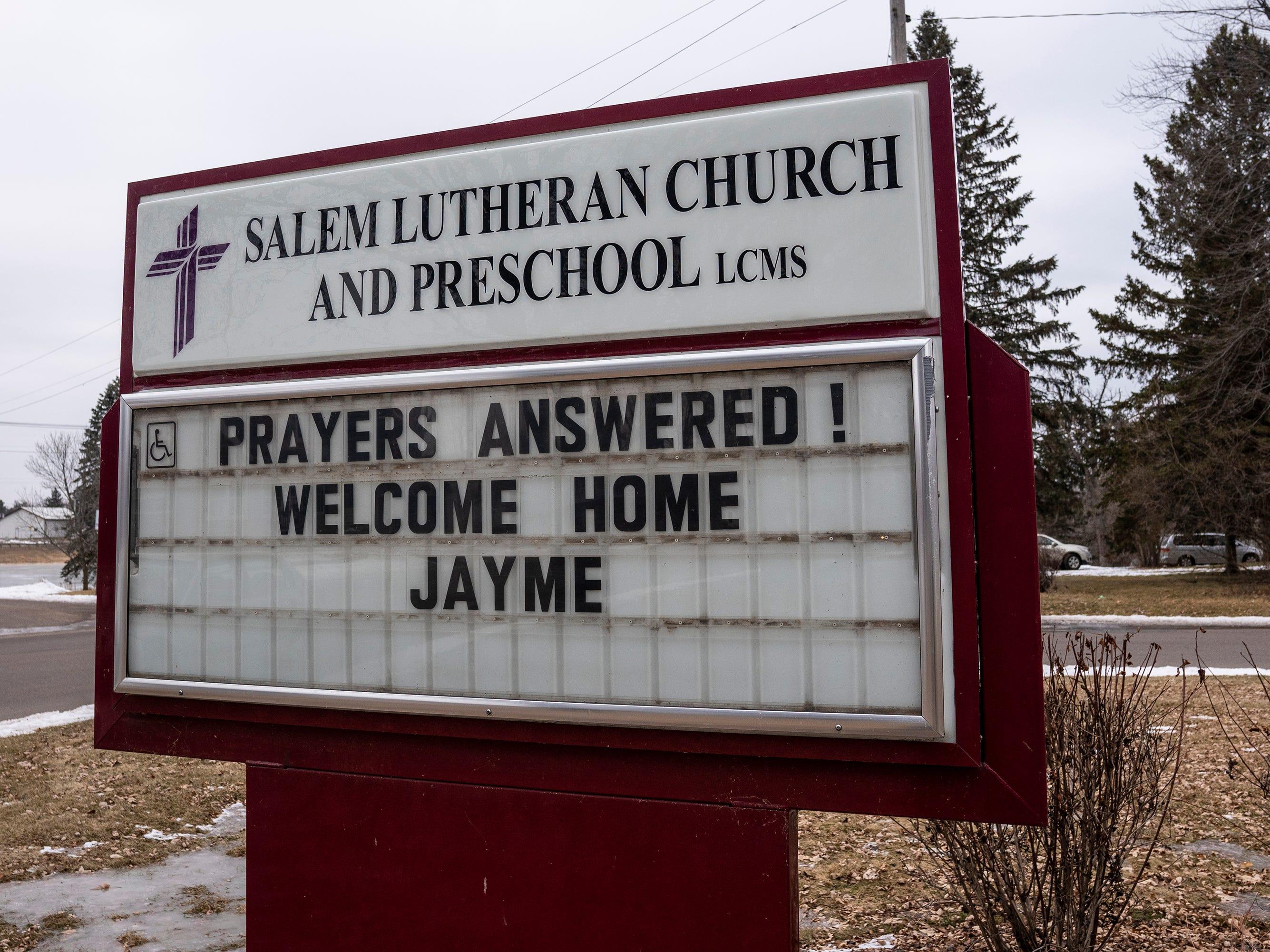 Salem Lutheran Church and Preschool's sign.