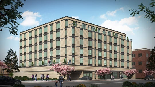 A rendering of The Millennia, a six-story, 110 unit development coning to the Burling Lane triangle in New Rochelle.