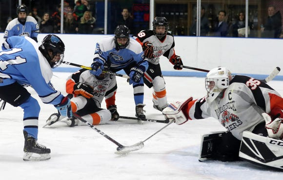 Mamaroneck goalie Jack Fried has made scoring difficult for Suffern twice already this season. The Tigers are looking for a third Section 1 title in four seasons.