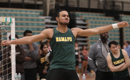 Anthony Harrison of Ramapo competes in the shot put during the Suffern Invitational at Rockland Community College Jan. 11, 2019.
