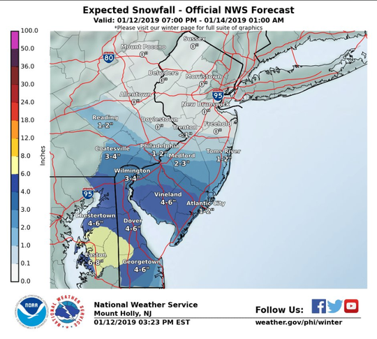 The National Weather Service updated its prediction for snowfall in Delaware Saturday, warning the state could get 3-6 inches of snow.
