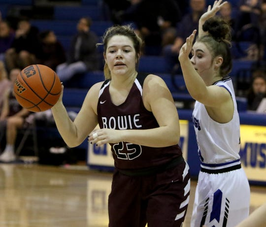 Bowie's Hope Howard passes while guarded by City View's Olivia Ford Friday, Jan. 11, 2019, in City View.