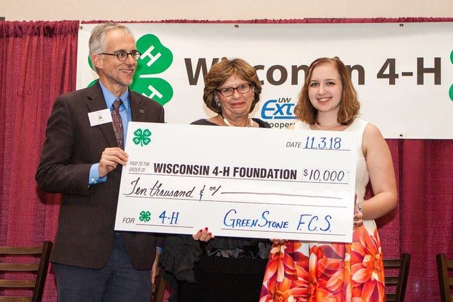 Pictured (from left) are Matt Calvert, Director, UW-Extension Institute of Positive Youth Development; Linda Funk, President, Wisconsin 4-H Foundation Board of Directors; Megan Zaczyk, Ozaukee County 4-H youth leader and Miss Ozaukee 4-H 2019.
